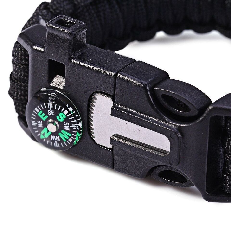 Outdoor Survival Bracelet with Compass, Whistle, and Flint Fire Starter