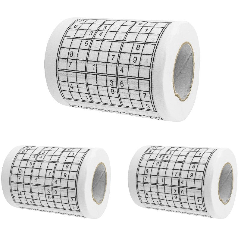 Sudoku Puzzle Game Roll Novelty Toilet Paper - 3 Pack-Daily Steals