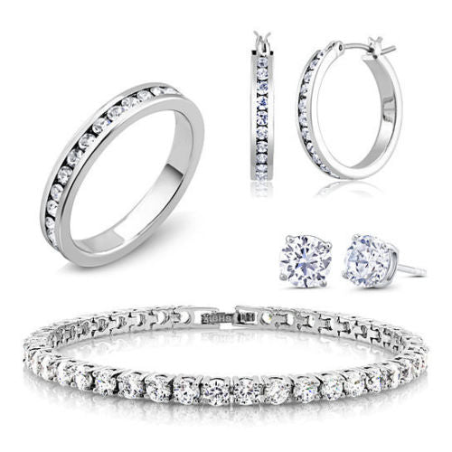 18K White Gold Plated and CZ Jewelry Set - Hoops, Studs, Tennis Bracelet, and Ring-6-Daily Steals