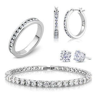Daily Steals-18K White Gold Plated and CZ Jewelry Set - Hoops, Studs, Tennis Bracelet and Ring-Jewelry-6-