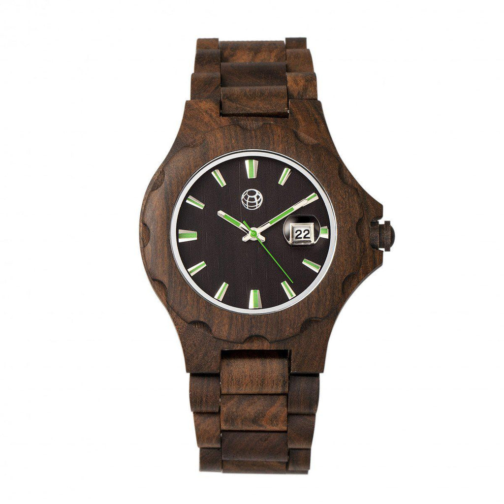Daily Steals-Earth Wood Gila Bracelet Watch w/Magnified Date-Jewelry-Dark Brown-