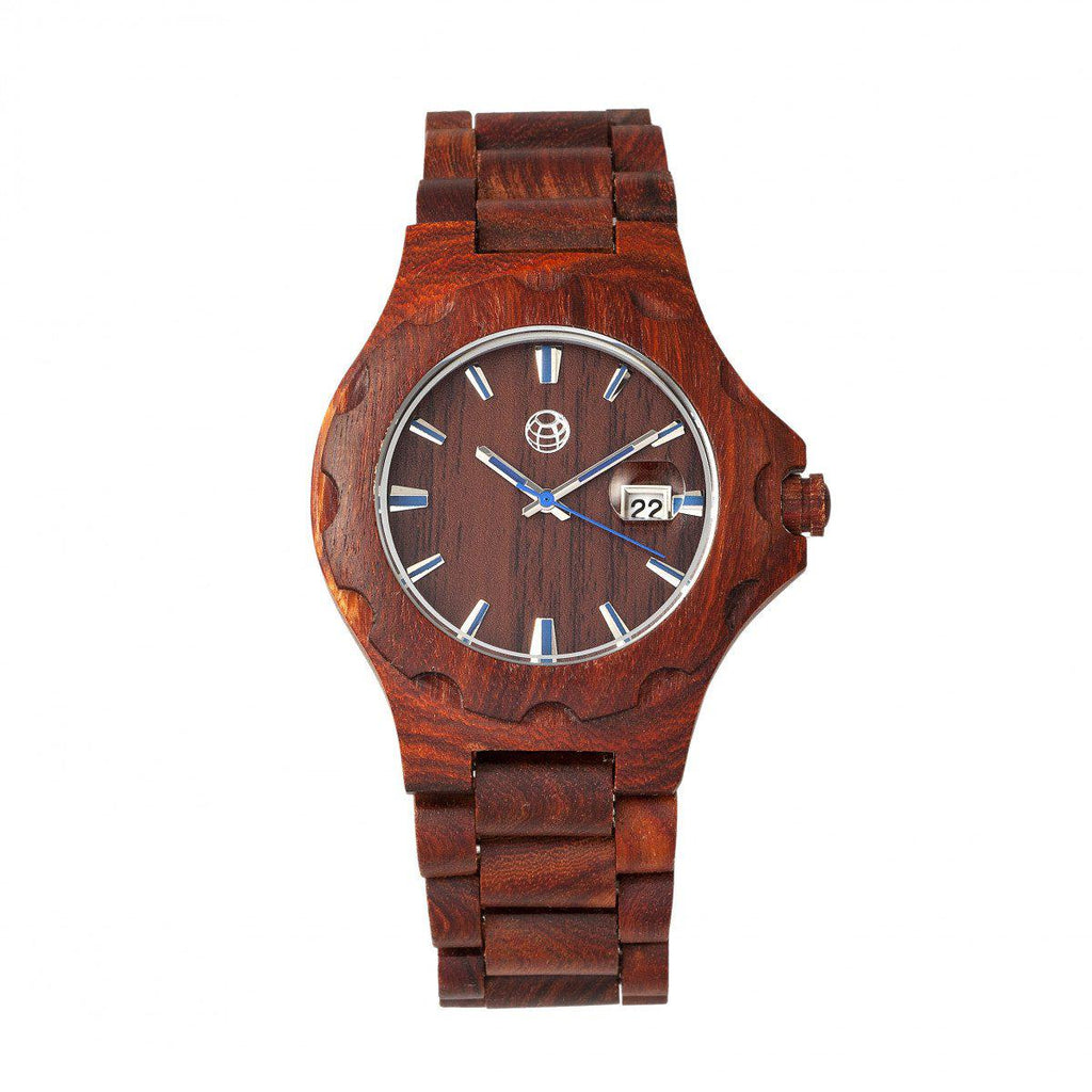 Daily Steals-Earth Wood Gila Bracelet Watch w/Magnified Date-Jewelry-Red-