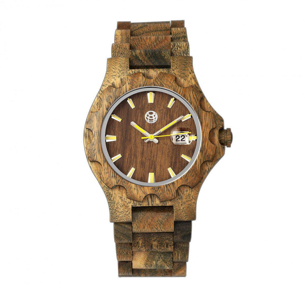 Daily Steals-Earth Wood Gila Bracelet Watch w/Magnified Date-Jewelry-Olive-