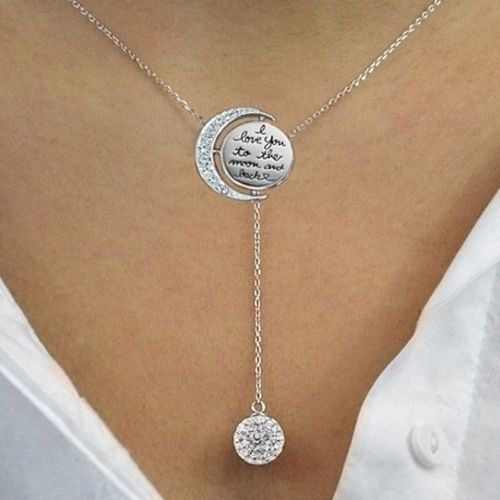Daily Steals-Engraved To The Moon And Back Y Necklace made with Swarovski Elements-Jewelry-