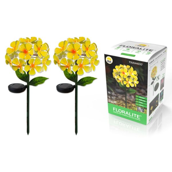 Solar LED Metal Flower Stake Lights - 1, 2, or 3 Pack-Yellow-2-Pack-Daily Steals
