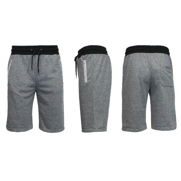 Men's Marled or Solid French Terry Shorts with Zipper Pockets-Heather Grey-Small-Daily Steals