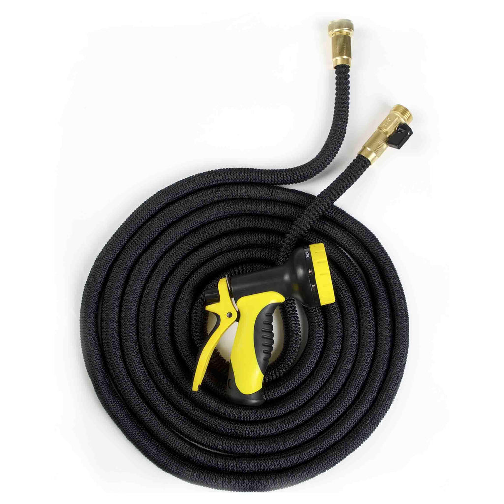 Expandable 50ft Garden Hose with Brass Fittings & Spray Nozzle-Daily Steals