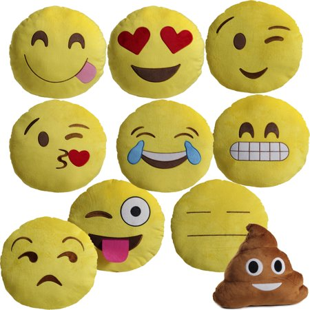 "Large 13"" Soft Plush Emoji Throw Pillows-Daily Steals"