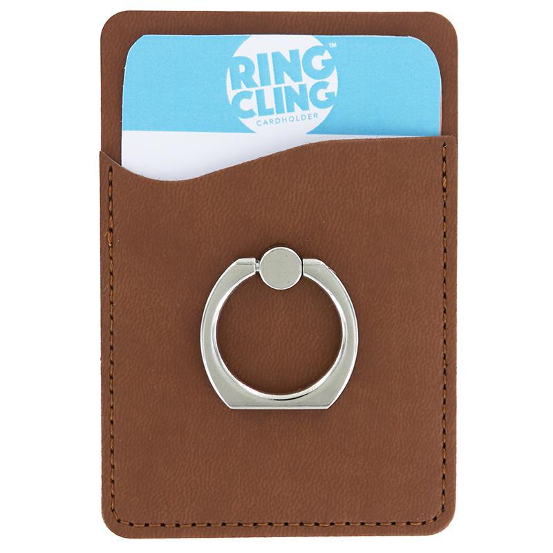 [2-Pack] Ring Cling Cardholder-Brown-Daily Steals