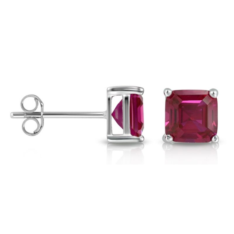 2.00 CTW Created Ruby Asscher Cut Stud Earrings-Daily Steals