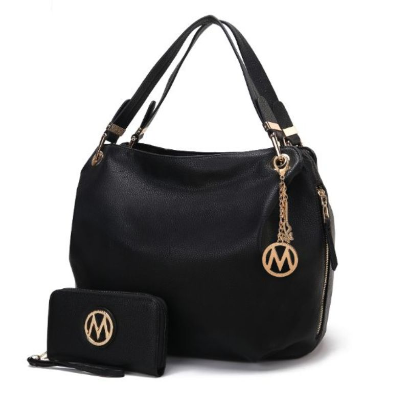 Fabienne Hobo Handbag with Matching Wallet by MKF-Black-Daily Steals