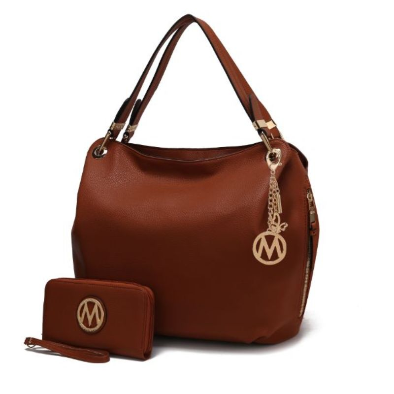 Fabienne Hobo Handbag with Matching Wallet by MKF-Cognac-Daily Steals