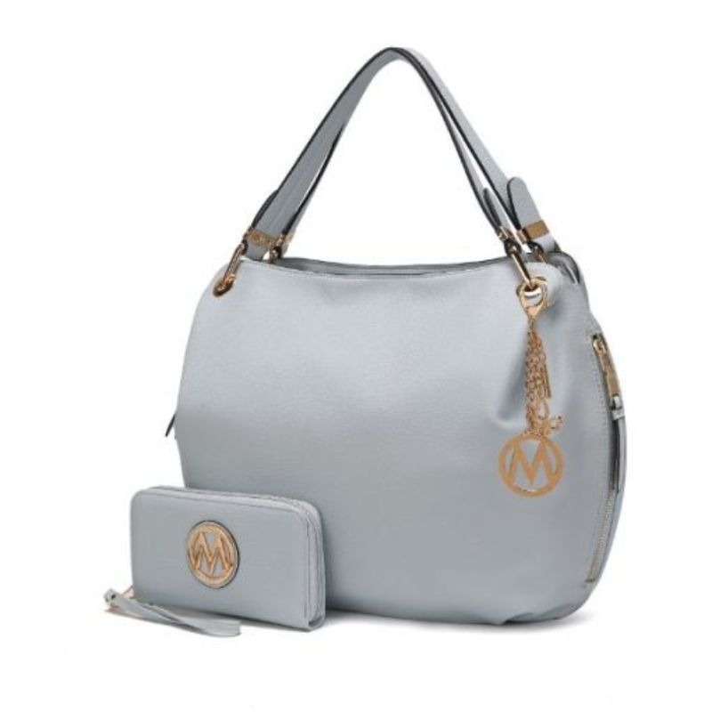 Fabienne Hobo Handbag with Matching Wallet by MKF-Light Blue-Daily Steals