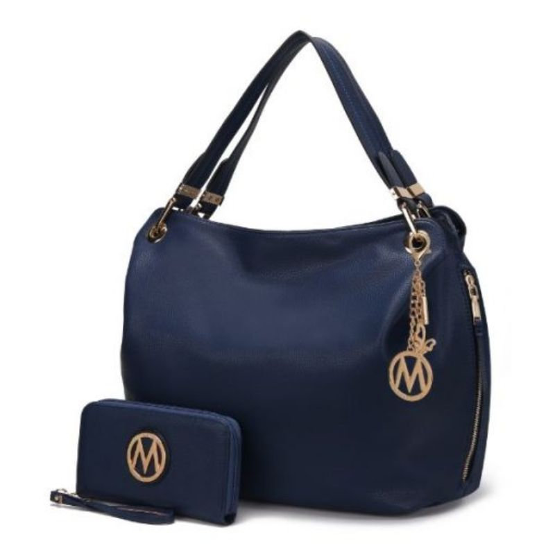 Fabienne Hobo Handbag with Matching Wallet by MKF-Navy-Daily Steals