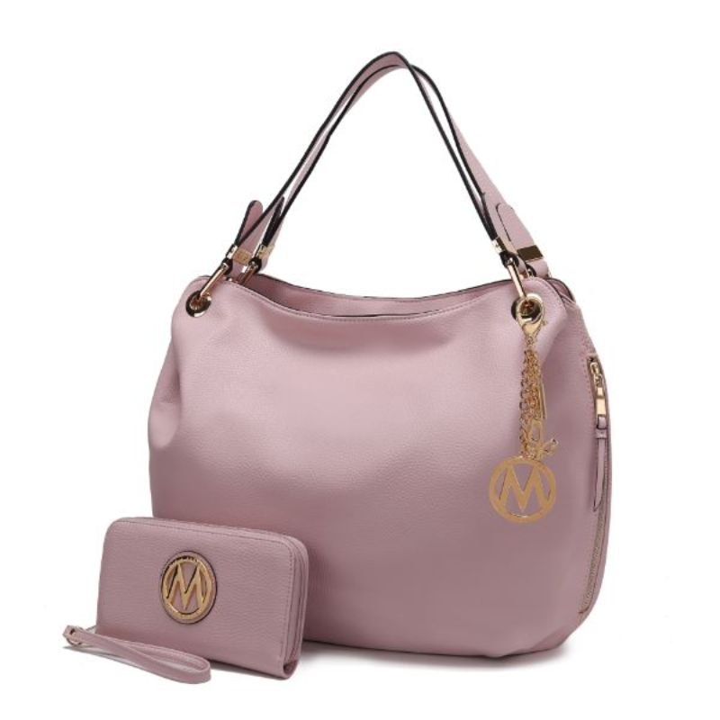 Fabienne Hobo Handbag with Matching Wallet by MKF-Pink-Daily Steals