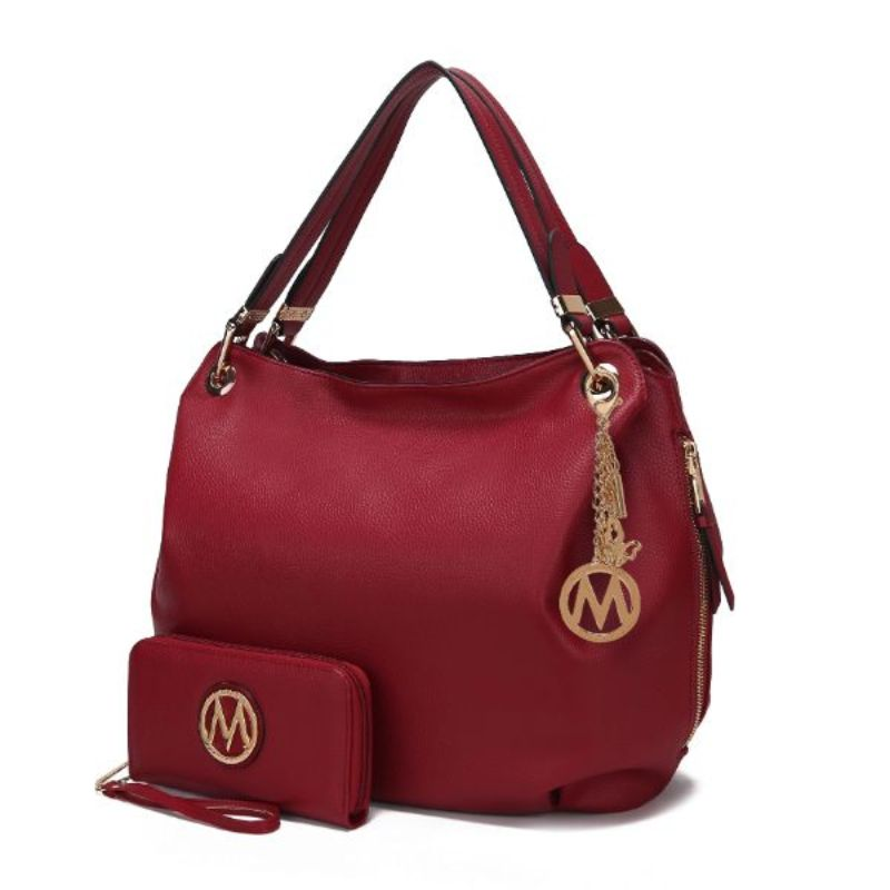 Fabienne Hobo Handbag with Matching Wallet by MKF-Red-Daily Steals