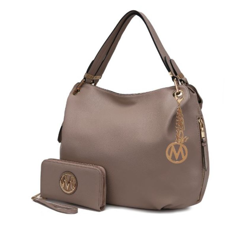 Fabienne Hobo Handbag with Matching Wallet by MKF-Taupe-Daily Steals