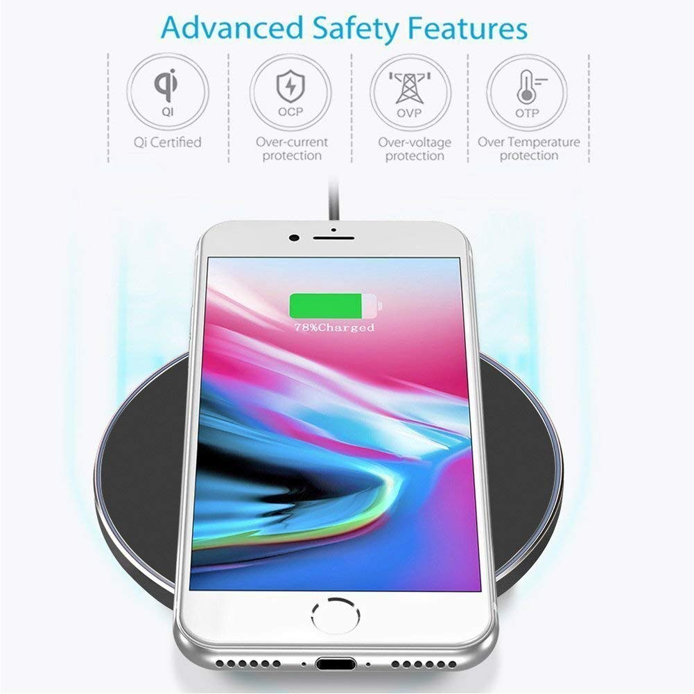 Daily Steals-Fast Charging Qi Certified 10W Wireless Charger-Home and Office Essentials-White-