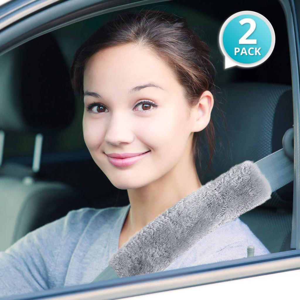 Daily Steals-Faux Sheepskin Car Seatbelt Shoulder Pads - 2 Pack-Other-