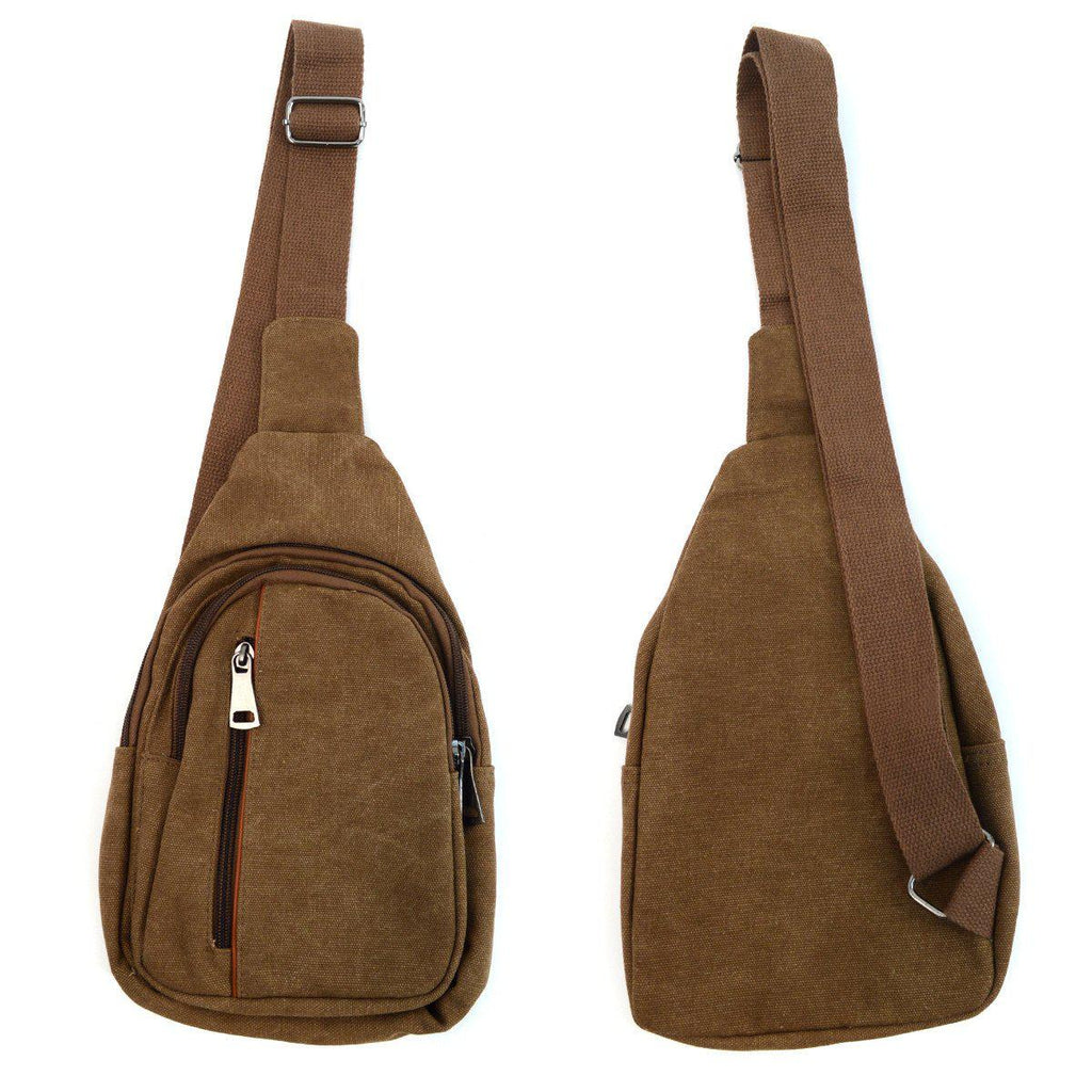 Crossbody Canvas Sling Bag Backpack with Adjustable Strap-Brown-Daily Steals