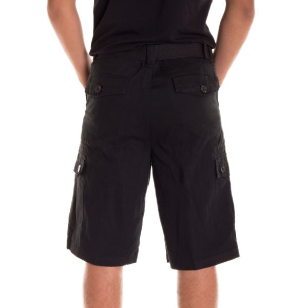 Alta Designer Fashion Men's Cargo Shorts, Twill Belt Included - Multiple Colors-Black-30-Daily Steals