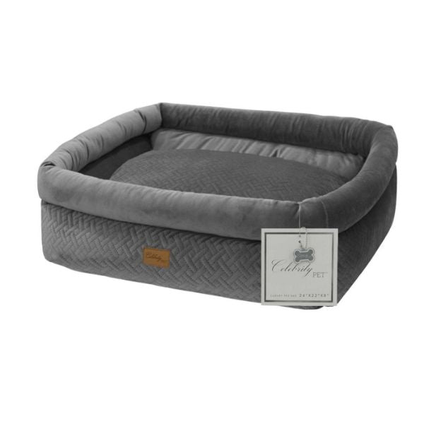 Daily Steals-Celebrity Dog Bed with Removable Cushion-Pets-Grey-Small-