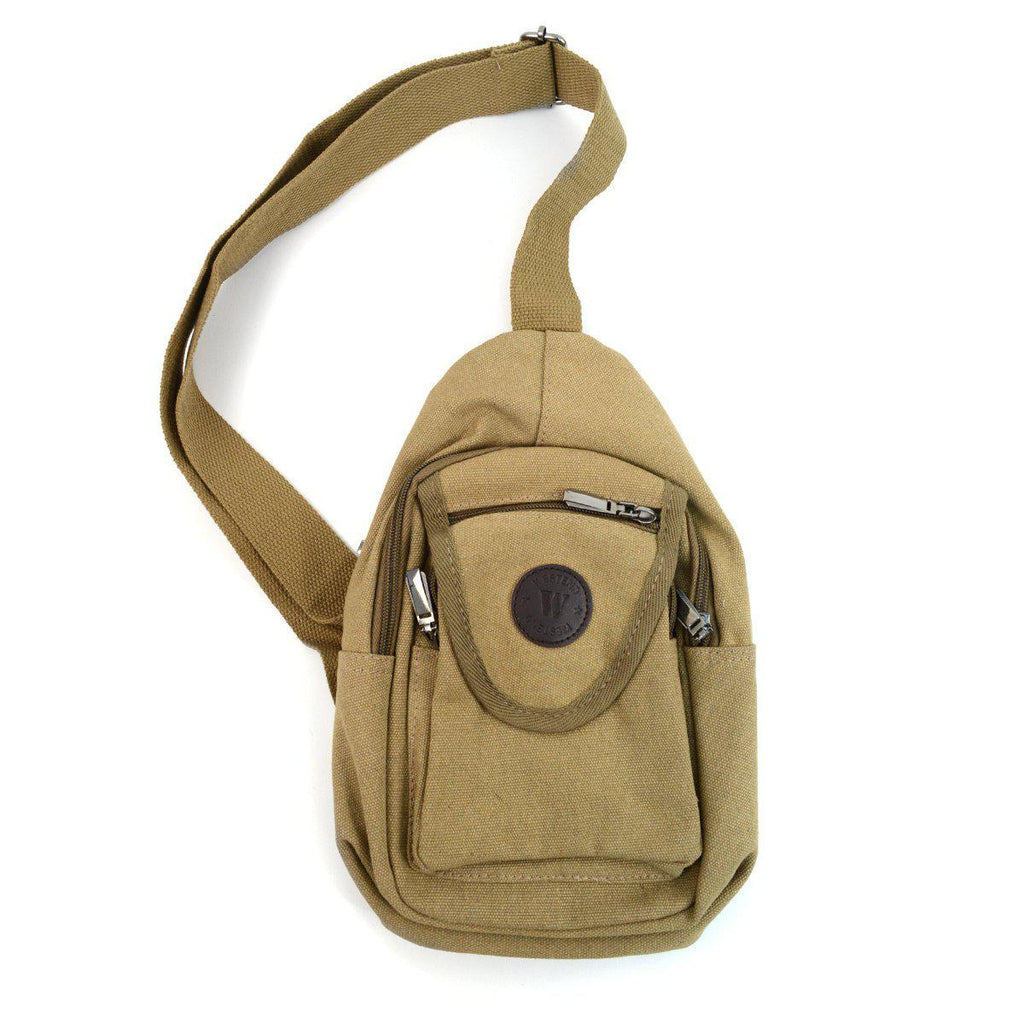 Crossbody Canvas Sling Bag Backpack with Adjustable Strap-Tan-Daily Steals