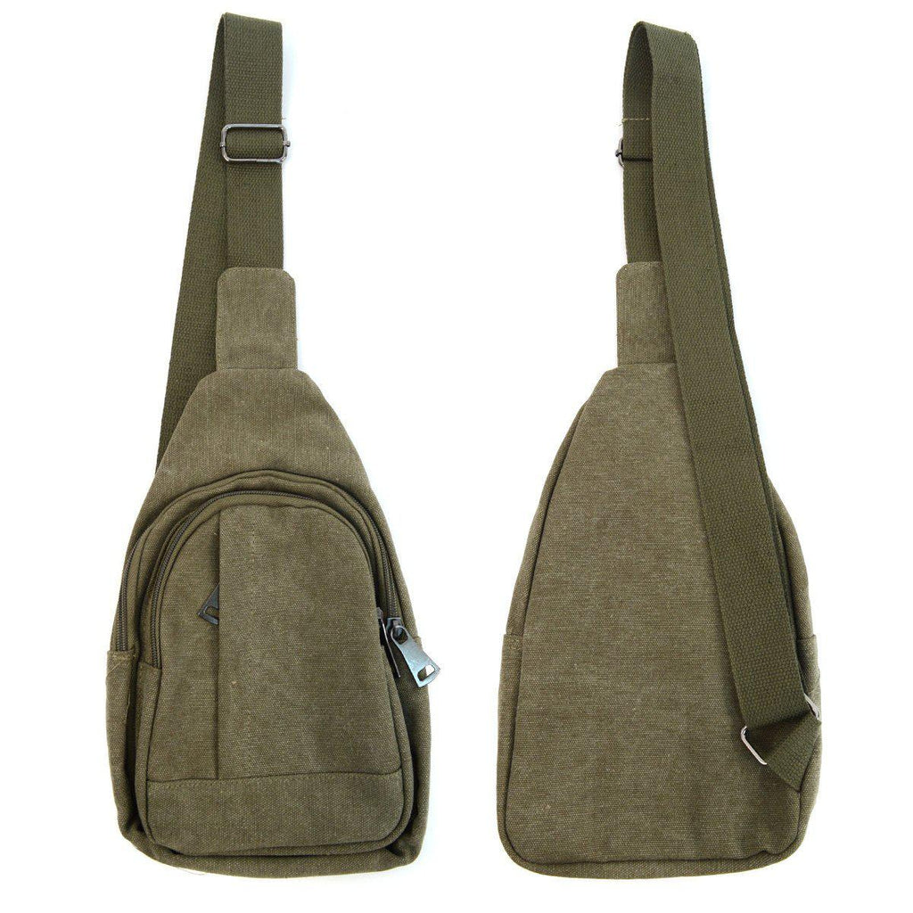 Crossbody Canvas Sling Bag Backpack with Adjustable Strap-Olive-Daily Steals