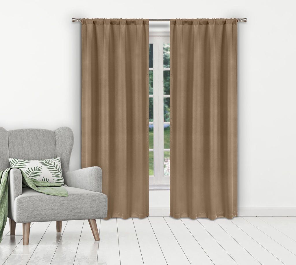 Solid Room-Darkening Double-Layered Window Panels (2-Pack)-Taupe-Daily Steals