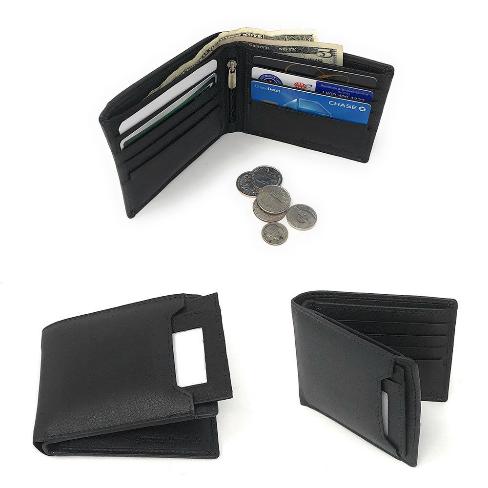 Daily Steals-Genuine Leather Bifold Wallets for Men and Women-Accessories-Black (Outer Card ID Case)-