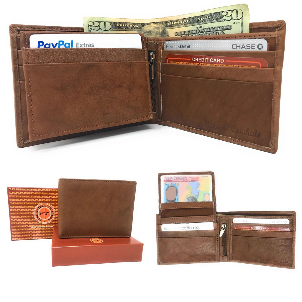 Daily Steals-Genuine Leather Bifold Wallets for Men and Women-Accessories-Brown (Flip Up Id)-