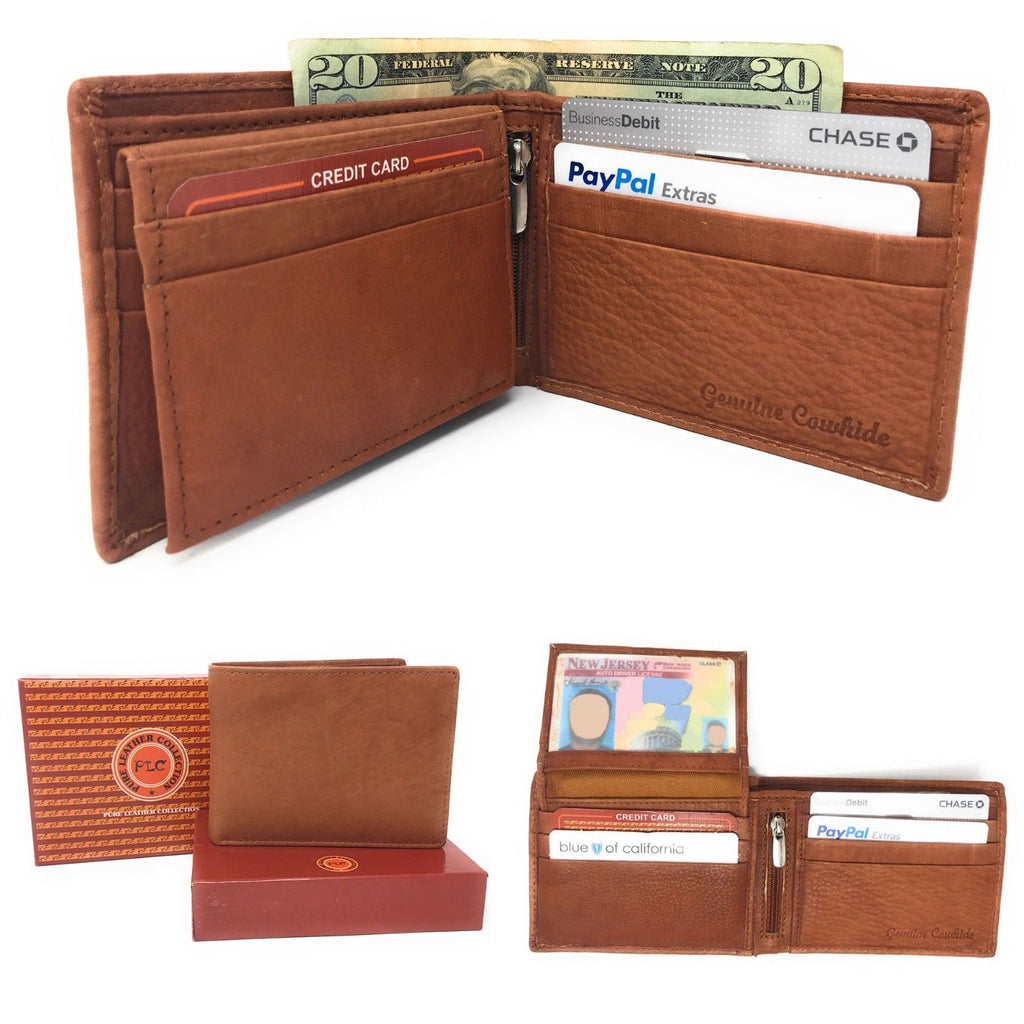 Daily Steals-Genuine Leather Bifold Wallets for Men and Women-Accessories-Tan (Flip Up Id)-