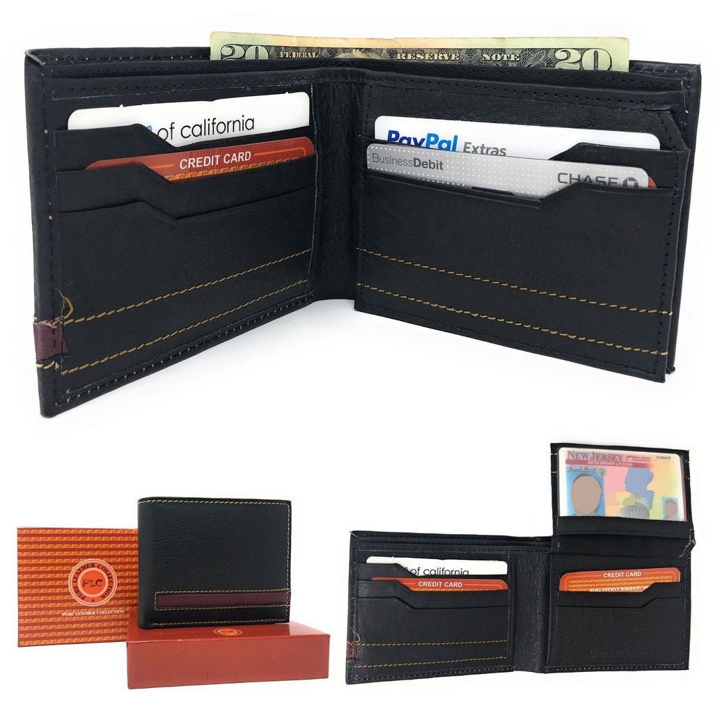 Daily Steals-Genuine Leather Bifold Wallets for Men and Women-Accessories-Black with Brown Trim-