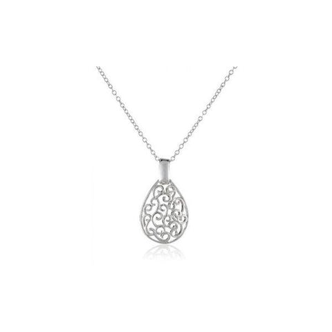 Teardrop Filigree Necklace in Sterling Silver-Daily Steals
