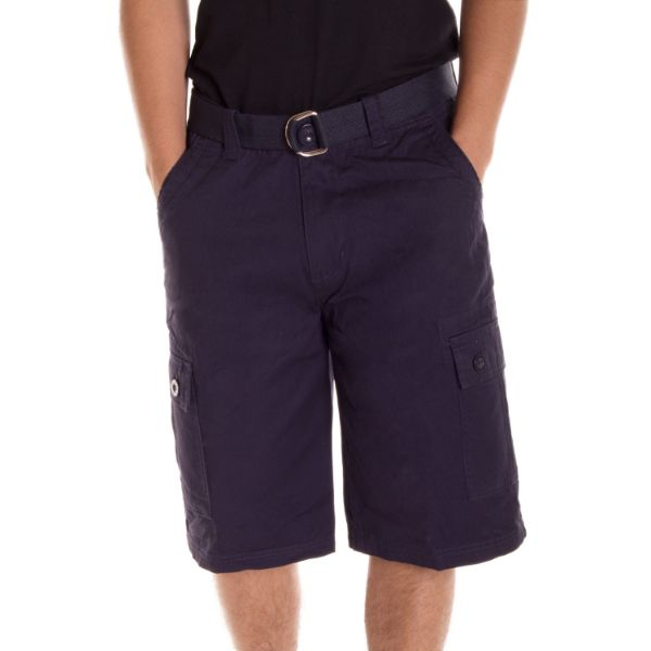 Alta Designer Fashion Men's Cargo Shorts, Twill Belt Included - Multiple Colors-Navy-30-Daily Steals