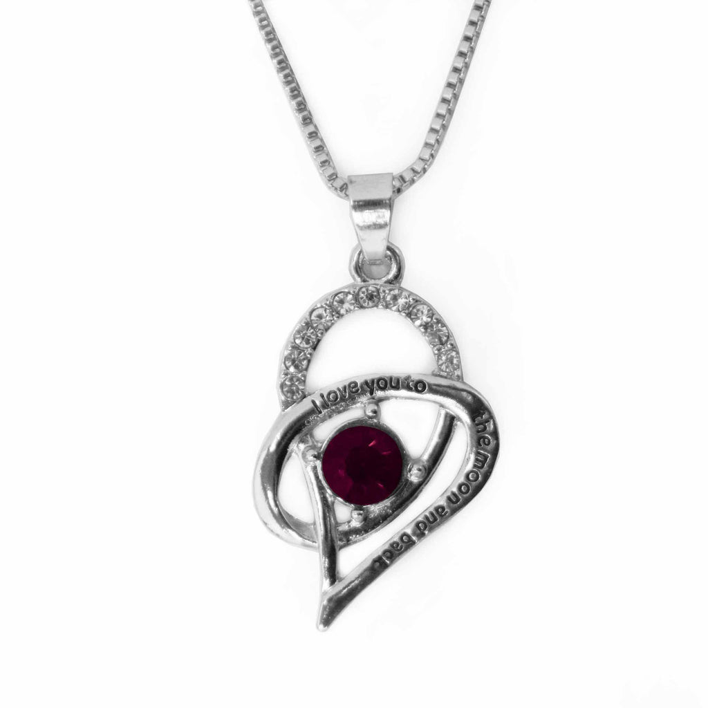 """I Love you to the moon and back"" Birthstone Inspired Pendant on Silver Chain-February / Amethyst-Daily Steals"