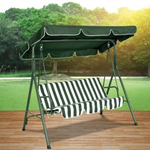 Daily Steals-Striped Outdoor Patio Swing Bench-Furniture-Green-