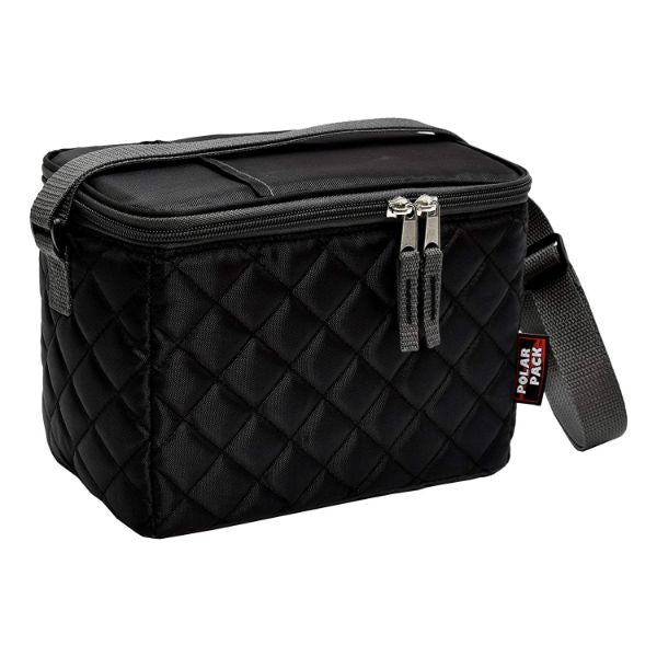 POLAR PACK Quilted 6 Can Cooler-Black-Daily Steals