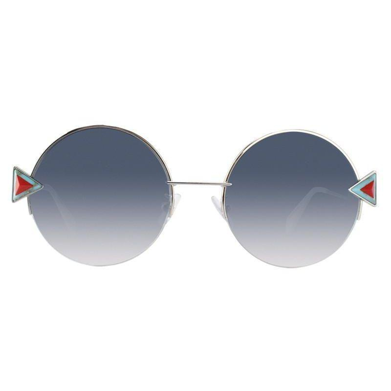 Daily Steals-Fendi FF 0243/F/S-0SCB-55/21 Round Sunglasses Silver Frame Blue Lens 55mm-Sunglasses-