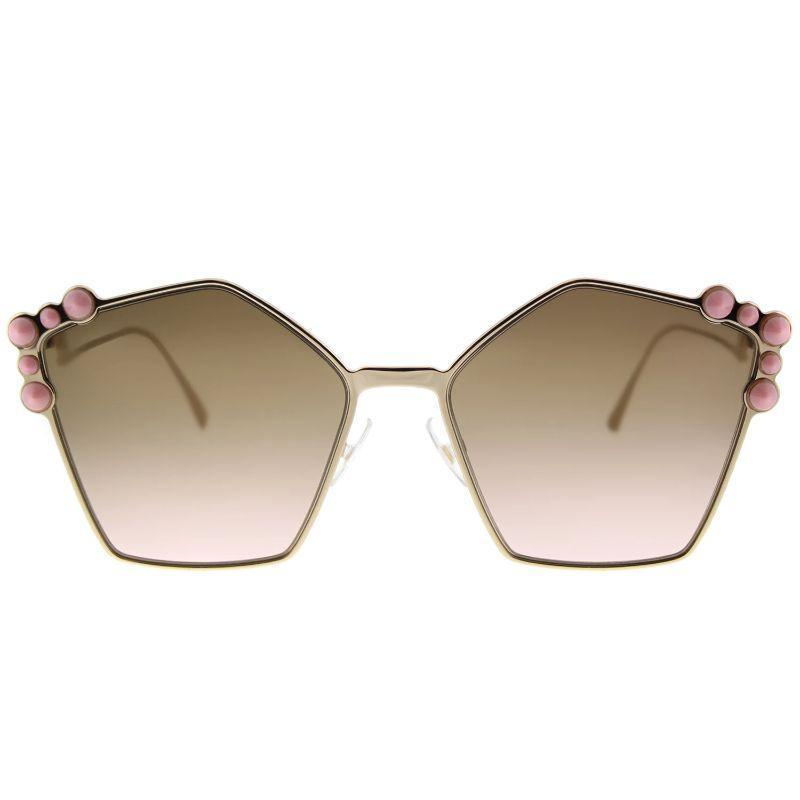Fendi FF 0261 000 Rose Gold Fashion Metal Sunglasses-