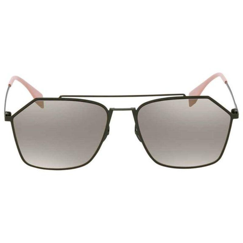 Fendi FF M0022/S 1EDUE Sunglasses Green Frame Gray Gold Mirror Lens 56mm-Daily Steals