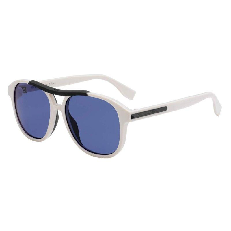 Fendi FF M0026/G/S-VK6-56KU Sunglasses White Fram Blue Lenses 56mm-Daily Steals