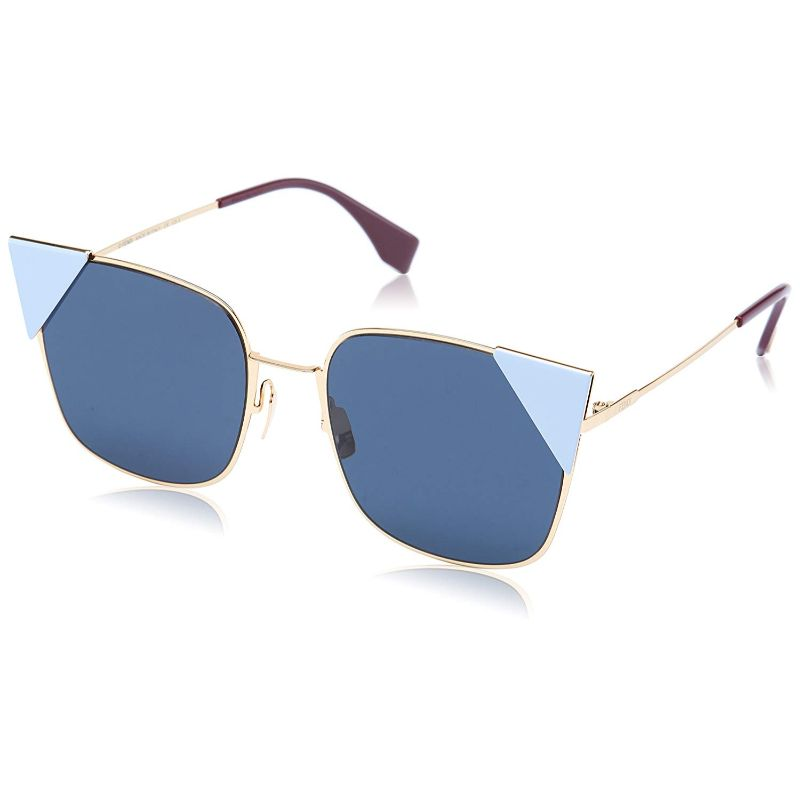 Fendi FF 0191/S-0000-55/19 Cat-Eye Sunglasses Rose Gold / Blue Mirror 55mm-Daily Steals