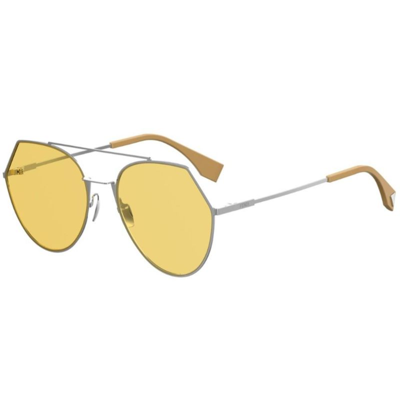 Fendi FF 0194/S-B1Z-55HO Sunglasses Eyeline Silver Frame Yellow Lens 55mm-Daily Steals