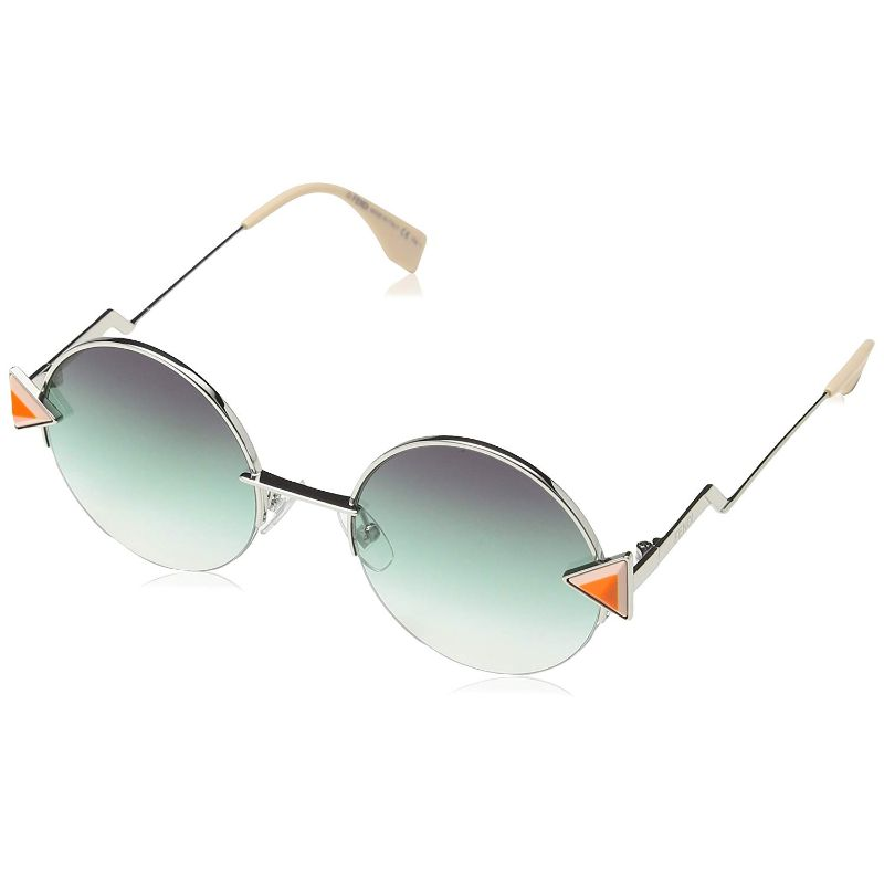 Fendi FF 0243/S-0VGV-51/21 Round Sunglasses Silver Purple-Green Lens 51mm-Daily Steals