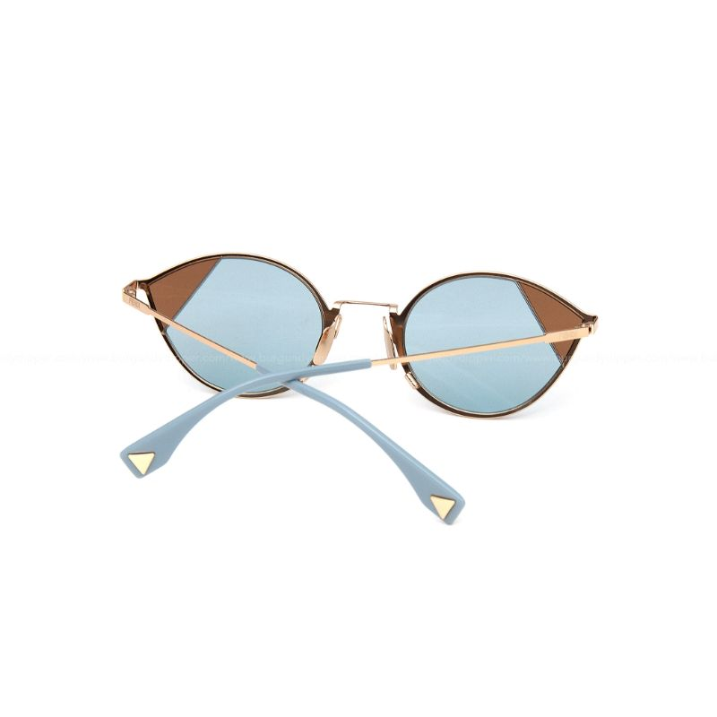 Fendi Cut-Eye FF 0342/S QWU 1P Gold Azure Metal Cat-Eye Sunglasses-Daily Steals