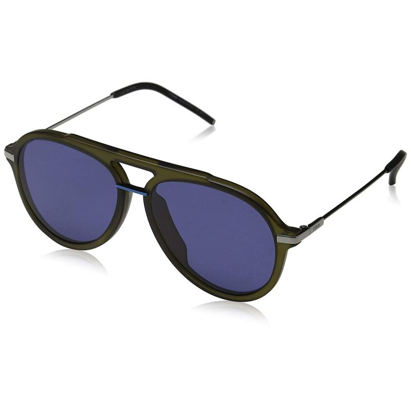 Fendi FF M0011/S-01ED-58/16 Aviator Sunglasses Olive Frame Blue Lens 58mm-Daily Steals