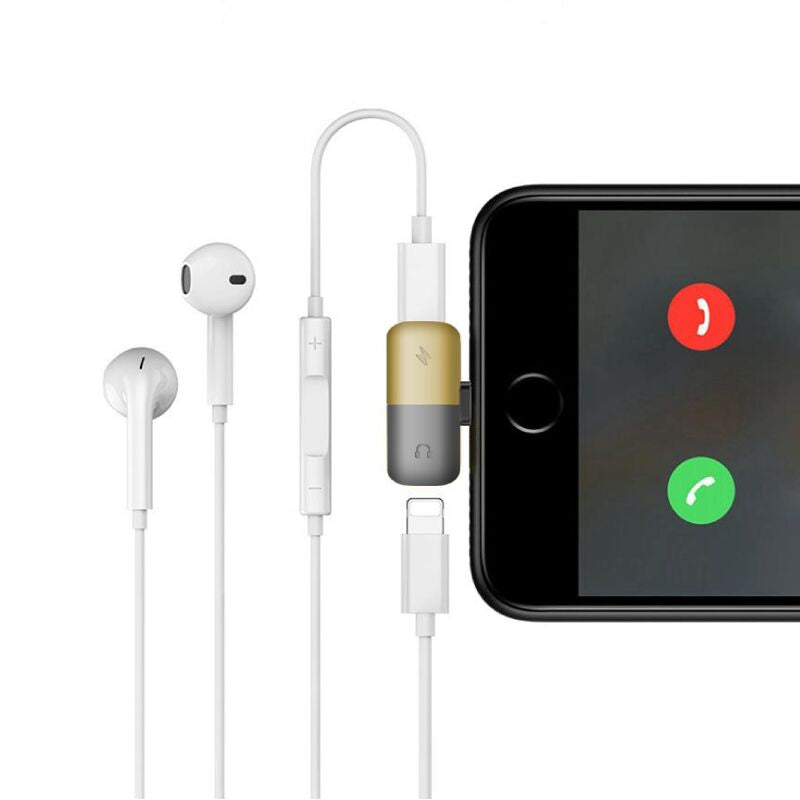 2-in-1 Apple Lightning Adapter | Audio and Charge | 2-Pack-Gold-Daily Steals