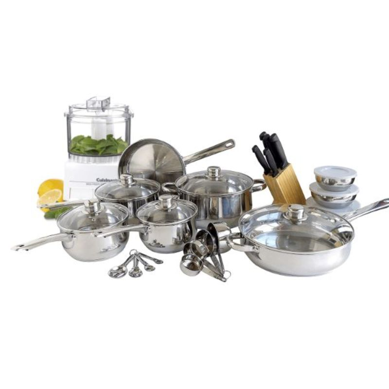Freedom Gourmet Cookware 31 piece Stainless Steel Kitchen Ensemble with a Cuisinart Mini Processor-Daily Steals
