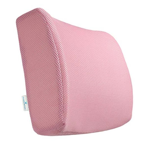 PharMeDoc Lumbar Support Pillow - Adjustable Memory Foam Seat Cushion-Pink-Daily Steals